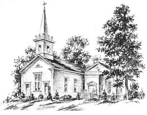 Ink drawing of Monson Community Church